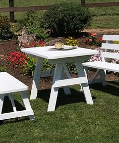 Another great find on #zulily! White Traditional Picnic Table & Bench Set #zulilyfinds. 5'. $549.99