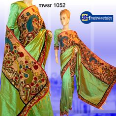 silk cotton saree is designed with penkalamkari allover borders fabric with patching done with mangalagiri fabric Code: mwsr 1052 Price: 3750/- ( bulk buyers / whole sale / boutiques / Retail shops for trade inquiries please contact our WhatsApp no 8801302000 )