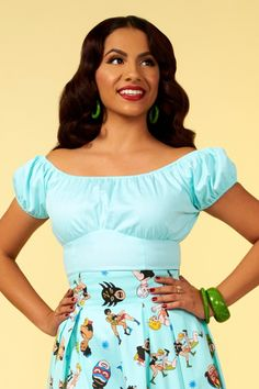 Pinup Couture Peasant Top in Bright Mint  85b4bb894