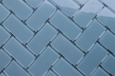 "Jasper 3x6 Glass Subway Tile from RockyPointTile.com. $15.99/Sq Ft. Arranged in a herringbone pattern with 1/8"" spacers."