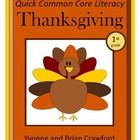 1st grade Thanksgiving Quick Common Core Literacy is a packet of ten different worksheets featuring a Thanksgiving Day theme focusing on the English grammar ...