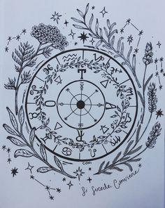 Wheel of Fortune - Zodiac wheel - Herbalism Future Tattoos, New Tattoos, Wheel Of Fortune Tarot, Tarot Card Tattoo, Wheel Tattoo, Zodiac Wheel, Arte Obscura, Lotus Tattoo, Symbolic Tattoos