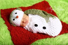 Newborn Snowman hat and sack by Bethanys5 on Etsy