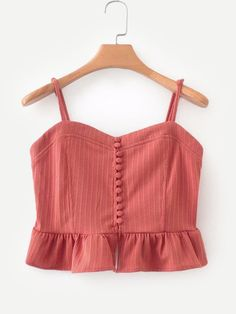 Button Through Ruffle Hem Cami Top -SheIn(Sheinside) Crop Top Outfits, Cute Casual Outfits, Summer Outfits, Girl Outfits, Fashion Outfits, Fancy Tops, Cute Crop Tops, Cami Tops, Trendy Tops