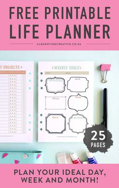 This cute free printable life planner that will help you get your life in order. This printable contains 25 pages including a weekly goals page, schedules, monthly planning pages, and more! Click here to download it. #lifeplanner #planner #printableplanner #goalsplanner Daily Planner Pages, Free Planner, Goals Planner, Printable Planner, Happy Planner, Free Printables, Planner Ideas, Planner Organization, Household Organization