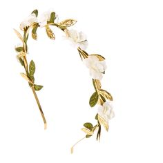 White Flower and Leaves Gold Headband | Claire's ($9.99) ❤ liked on Polyvore featuring accessories, hair accessories, headband hair accessories, head wrap headband, flower hair accessories, gold headband and gold leaf hair accessories
