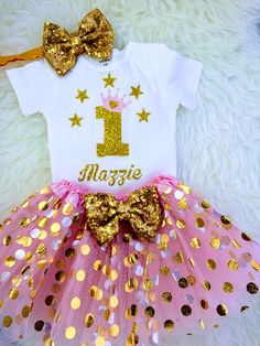 20bc215d8 Baby Girls 1st Birthday Outfit, special gift for your princess Sparkly Gold  One inside Heart Design. 1 Year Old ...
