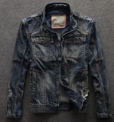 Fashion Vintage Denim Ripped Stand Collar Motorcycle Men Jeans Jacket Biker Coat | Clothing, Shoes & Accessories, Men's Clothing, Coats & Jackets | eBay!