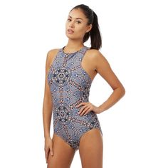 This swimsuit from The Collection is perfect for introducing contemporary style to beach and poolside looks. In a colourful geometric print, this chic piece features UV protection, a stylish high neck and a back zip fastening.