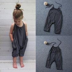 Simple and stylish with hidden side pockets to add some great functionality and the soft comfortable material is perfect on your little one. Has the best of cotton and polyester blend to hold the rompers form. Halter top ties in the back.