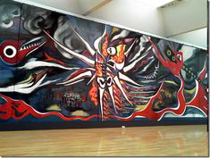 """Taro Okamoto (1911-1996) was a citizen of the world whose much lauded abstract mural """"Asu no Shinwa"""" (Myth of tomorrow) mural depicting the horror and destruction of the 1945 atomic bombings of Hiroshima and Nagasaki will be unveiled to the public in Tokyo's Shibuya ward on November 17th 2008."""