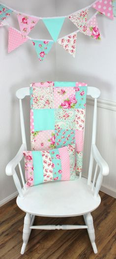 Baby Blanket, Patchwork Blanket, Girl Blanket, Nursery Blanket, Baby Pink, Mint, Aqua Blue, Shabby Chic, Nursery Decor, Roses, Flowers, Dots