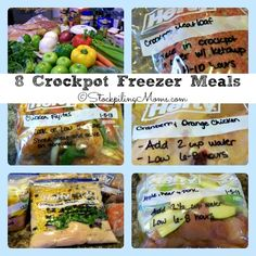 8 Crockpot Freezer Meals in 2 hours! #freezer #freezermeals #crockpot