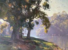 Sketch for Serene Flow, Georges River x Watercolor Landscape, Landscape Art, Landscape Paintings, Watercolor Paintings, Paintings Of Trees, Australian Painting, Australian Artists, John Wilson, Environment Concept Art