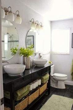 NORDEN sideboard turned double vanity  white as dominant, black for furniture, add some green: perfect bathroom!