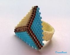 Peyote triangle ring