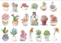 Journal Stickers, Scrapbook Stickers, Planner Stickers, Watercolor Stickers, Watercolor Cards, Decoupage Vintage, Diy Stickers, Printable Stickers, Flor Tattoo
