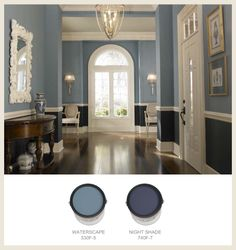 Dining room paint with chair rail chair rail dining room colors for Kitchen Paint Colors, Room Paint Colors, Paint Colors For Living Room, Paint Colors For Home, Bedroom Colors, House Colors, Bedroom Decor, Purple Kitchen Walls, Purple Kitchen Cabinets