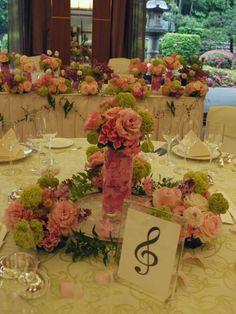 音符 ピンクのアジサイの装花  ホテルニューオータニ アーチェロ様へ :ゲストテーブル