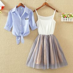 "Sweet shirt + condole dress two-piece outfit  Coupon code ""cutekawaii"" for 10% off"