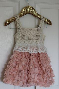 Crochet, lace and rosette dress for baby girls, toddlers, flower girls, Easter on Etsy, $29.00