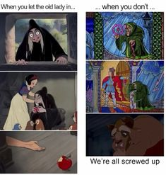 The old ladys are not good in old disney movies Funny Disney Jokes, Disney Humor, Disney Nerd, Disney Songs, Old Disney, Disney Facts, Disney Marvel, Disney Quotes, Disney Love