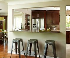 Small Kitchen: Open-Space Makeover Room to Mingle Connected spaces, increased storage and work zones, and updated appliances and fixtures were priorities for this foot. Kitchen Pass, Kitchen Redo, Kitchen Living, Kitchen Island, Kitchen Countertops, Open Living Room Kitchen Ideas, Open Kitchen, Kitchen With Bar Counter, Space Kitchen