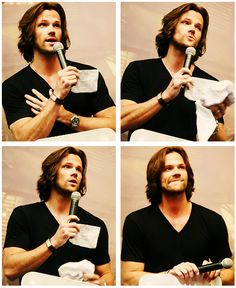 Jared Padalecki at a convention. This is basically porn. (THAT HAIR.)