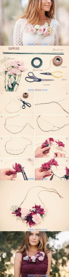 How to make a floral necklace necklace diy diy crafts do it yourself diy projects diy necklace floral necklace