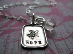 Hand Stamped Turtle & HOPE Fertility Necklace With by PeaceofMind, $65.00
