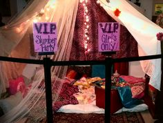 Happy 9th :) sleep over tent set up and blocked off in playroom. No little brothers!!!
