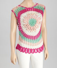 Fuchsia & White Crocheted Flower Sleeveless Top | zulily