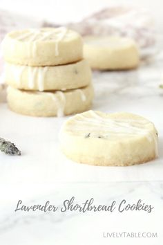 Lavender Shortbread Recipe   Soft and buttery lavender shortbread cookies with a light glaze are the perfect spring time dessert! With only 6 ingredients, they are so easy to make.  Via LivelyTable.com @Lively Table
