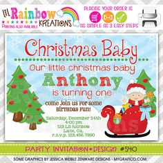 540 DIY Christmas Baby Party Invitation Or by LilRbwKreations