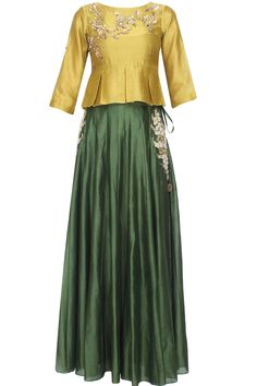 Mustard floral embroidered peplum top and green skirt set available only at Pernia's Pop Up Shop. Mustard floral embroidered peplum top and green skirt set available only at Pernia's Pop Up Shop. Pakistani Dresses, Indian Dresses, Indian Outfits, Choli Designs, Blouse Designs, Indian Attire, Indian Wear, Indian Designer Outfits, Designer Dresses