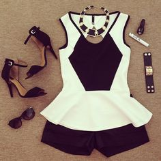 Black and white strappy heels, geometric print top, shorts