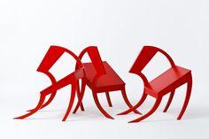Stefan Wewerka, Classroom Chair, design: 1970. Multiple. Wood, sprayed red. Owner: Paul Schad. Photo: Die Neue Sammlung – The International Design Museum Munich (A. Laurenzo). Owner: Paul Schad. © VG BildKunst 2012