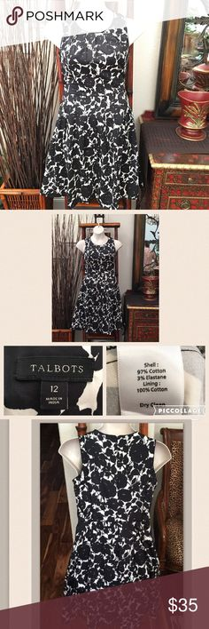 Talbots casual/work dress Black and white design. With zippered back. Size 12. Preloved  in near perfect condition. Talbots Dresses