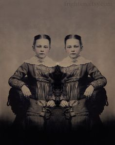 Eerie Twin Girls Art Print, The Two of Us, Altered Antique Tintype Portrait, frighten. $25.00, via Etsy.