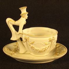 Occupied Japan Tea Cup and Saucer - Figural Victorian Gentleman from dtrantiques on Ruby Lane Tea Cup Set, My Cup Of Tea, Tea Cup Saucer, Tea Sets, Best Matcha Tea, Victorian Gentleman, Teapots And Cups, Teacups, Antique China