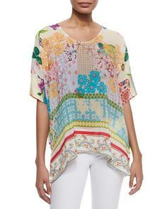 T9TLA Johnny Was Faith Boxy Floral-Print Top, Women's