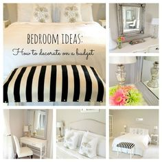 Budget Bedroom Decorating Ideas | LiveLoveDIY - love love love the black & white seat at the foot of the bed