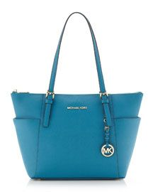 Newest addition to my purse Collection! Michael Kors  Jet Set Top-Zip Saffiano Tote in Turquoise