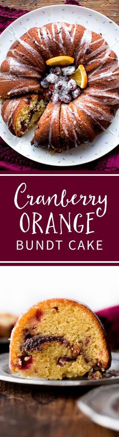 Super moist and deliciously flavored cranberry orange bundt cake with a thick cinnamon swirl inside! Recipe on sallysbakingaddiction.com