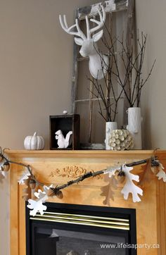 Neutral Fall Mantel:  For all who love to decorate with whites and neutrals, no matter what season it is, here's how to bring a fall feel to your mantel with out any orange, yellow, or red.  So pretty, simple, and calming.