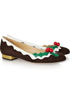 DEEP WANT.  But GBP545 is pretty steep for novelty Christmas shoes...    Charlotte Olympia | Holly suede and patent-leather flats  | NET-A-PORTER.COM