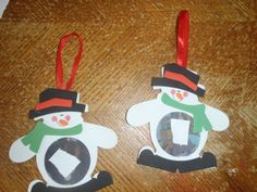 Our Snowman Ornaments. Piece of white paper is over the children's face to protect their identity.