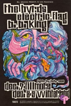 Classic Poster - B.B. King Byrds at Fillmore Auditorium 12/7/67 Winterland 12/8-9/67 by Bonnie MacLean dec