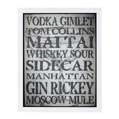 "East Urban Home 'Retro Cocktails' by Grafittee Studios Framed Textual Art Frame Color: White, Size: 25"" H x 19"" W x 1"" D"