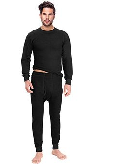 Rocky Mens Thermal 2pc Set Long John Underwear Small Black * Visit the image link more details.